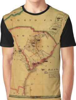 Map Of South Carolina 1827 Graphic T-Shirt