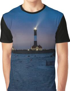 Night Walk By The Lighthouse | Fire Island, New York Graphic T-Shirt