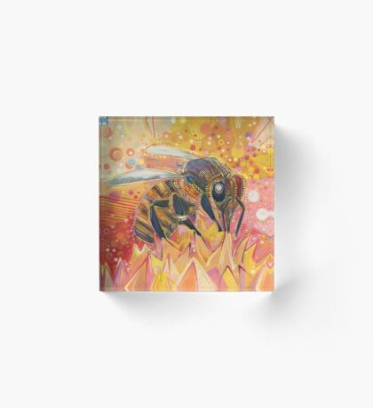 Western honey bee painting - 2012 Acrylic Block