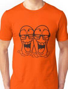 2 freunde team paar party feiern wurm raupe boden loch graben gesicht comic cartoon verrückt crazy hornbrille lustig lachen verwirrt psycho bescheuert blöd idiot nerd geek schlau  Unisex T-Shirt
