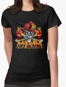 Fireman Skull Womens Fitted T-Shirt