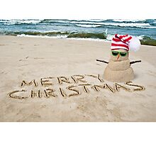 Tropical Christmas Snowman Photographic Print