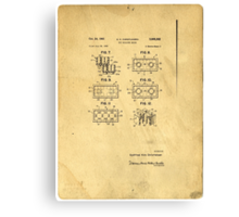 Original Patent For Lego Toy Building Brick Canvas Print