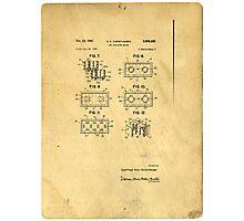 Original Patent For Lego Toy Building Brick Photographic Print