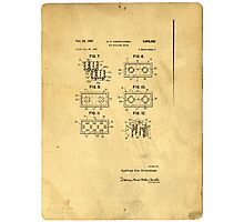 Original Patent For Lego Toy Building Brick Photographic Print