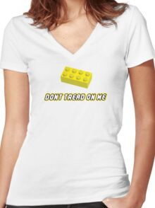Don't Tread On Me Block Women's Fitted V-Neck T-Shirt
