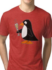 Cute Funky Penguin Drinking Glass of Champagne  Tri-blend T-Shirt