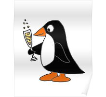Cute Funky Penguin Drinking Glass of Champagne  Poster