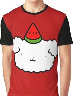 Watermelon Fluffy Dog Face Graphic T-Shirt