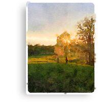 Kentucky Autumn Sunset in Watercolor Canvas Print