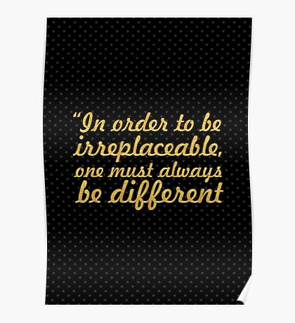 """In order to be... """"Coco Chanel"""" Inspirational Quote Poster"""