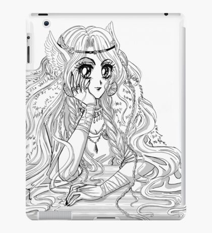 Black and White ink manga valkyrie girl viking inspired iPad Case/Skin