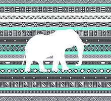 Elephant Tiffany Mint Aztec Pattern by RexLambo