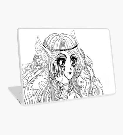 Black and White ink manga valkyrie girl viking inspired Laptop Skin