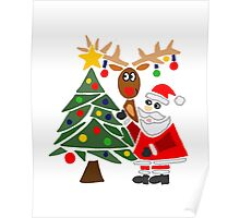 Funny Cute Santa Claus and Christmas Reindeer by Tree Poster