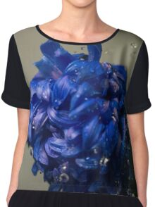 Blue flower with water drops Chiffon Top