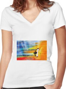 Capoeira love martial arts brazil Women's Fitted V-Neck T-Shirt