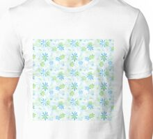 Blue and Green Floral Pattern Unisex T-Shirt