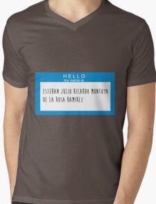 Hello My Name Is: Esteban Julio Ricardo Montoya De La Rosa Ramirez Mens V-Neck T-Shirt