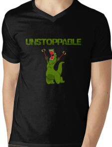 Unstopable T-rex Mens V-Neck T-Shirt