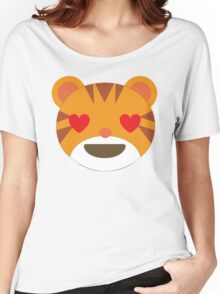 Tiger Emoji Heart and Love Eyes Women's Relaxed Fit T-Shirt