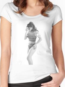 model Women's Fitted Scoop T-Shirt