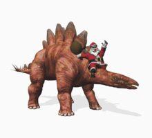 Santa Claus Riding On Stegosaurus One Piece - Short Sleeve