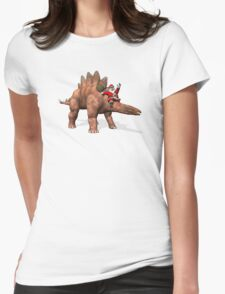 Santa Claus Riding On Stegosaurus Womens Fitted T-Shirt