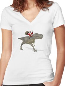 Santa Claus Riding A Trex Women's Fitted V-Neck T-Shirt