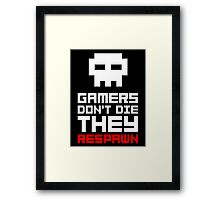 Pixel Skull Gamers Don't Die Framed Print