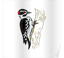 Illustration of Woodpecker on Tree  Poster