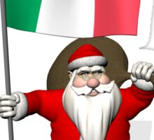 Santa Claus With Flag Of Italy Sticker