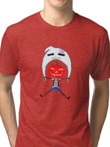 Jack O'Lantern flies with a Ghost Tri-blend T-Shirt
