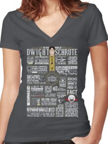 The Wise Words of Dwight Schrute (Dark Tee) Women's Fitted V-Neck T-Shirt