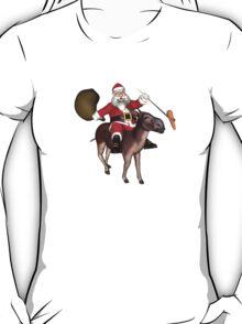 Santa Claus Riding A Donkey T-Shirt