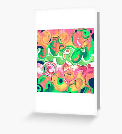 Abstract shapes fruity swirls Greeting Card