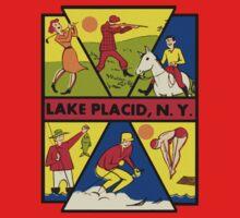 Lake Placid New York Vintage Travel Decal One Piece - Short Sleeve