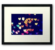 Colorful Hearts Bokeh Vintage Blue Yellow Orange I Framed Print