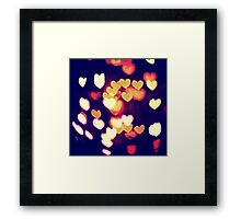 Colorful Hearts Bokeh Vintage Blue Yellow Orange II Framed Print