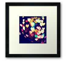 Colorful Hearts Bokeh Vintage Blue Yellow Orange IV Framed Print