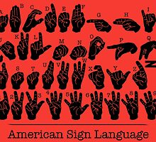 American Sign Language Chart - Red version by FinlayMcNevin