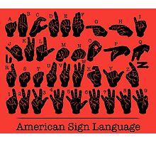 American Sign Language Chart - Red version Photographic Print