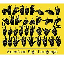 American Sign Language Chart - Yellow version Photographic Print