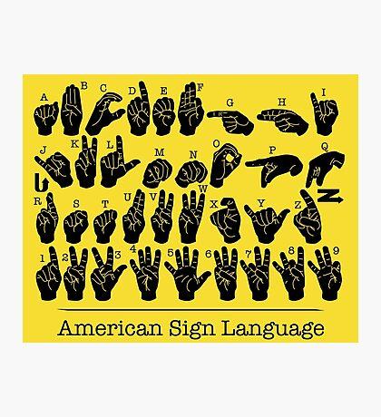 American Sign Language Chart - Yellow version Photographic Print