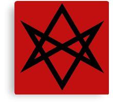 Hexagram   Magic Symbol   Letters of Men   Supernatural Print on Blood Red Canvas Print