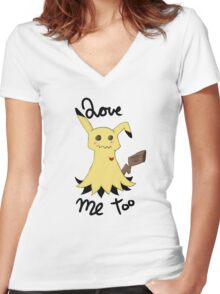 Mimikyu love me too Women's Fitted V-Neck T-Shirt