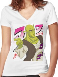 Shrek Bizarre Adventure Women's Fitted V-Neck T-Shirt