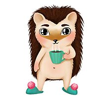 Hami the Hedgehog - Cup of Coffee Photographic Print