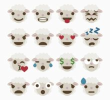 Sheep Emoji Different Facial Expressions Kids Tee