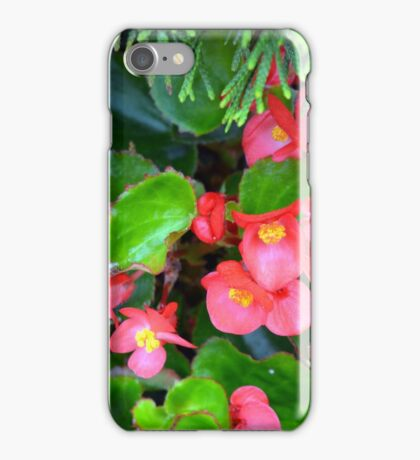 Red delicate flowers and green leaves pattern iPhone Case/Skin